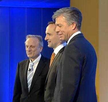 Werner Brandt, CFO; Jim Snabe, co-CEO y Bill McDermott, co-CEO, en la rueda de prensa celebrada esta mañana