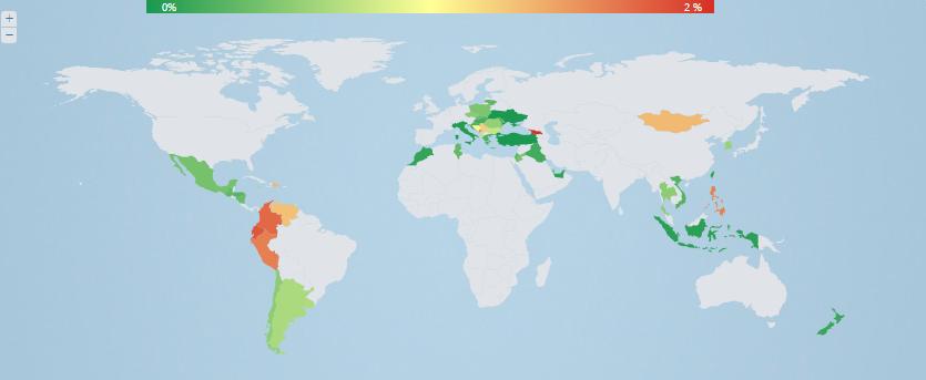 Países en los que se ha propagado el virus que Eset ha descubierto en América Latina.