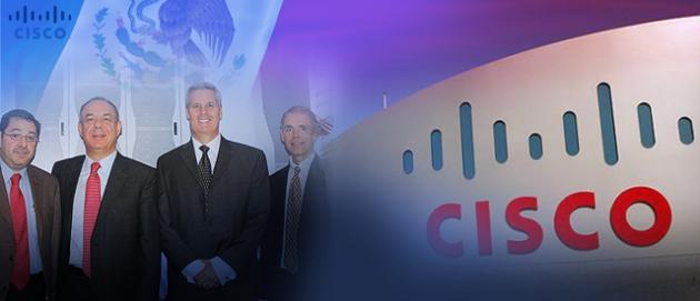 Equipo de Cisco en México anunciando el nuevo centro de soport que se abrirá en la capital del país.