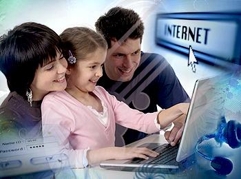 niño familia internet
