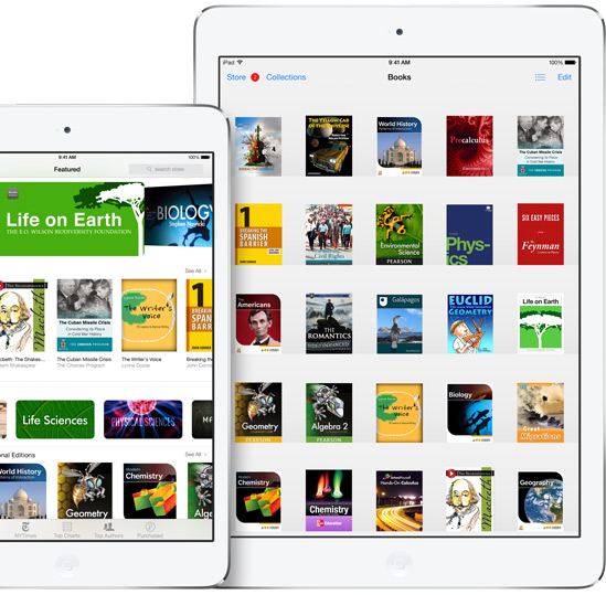 Librería de iBooks Textbooks de un usuario de Apple en su tablet iPad.