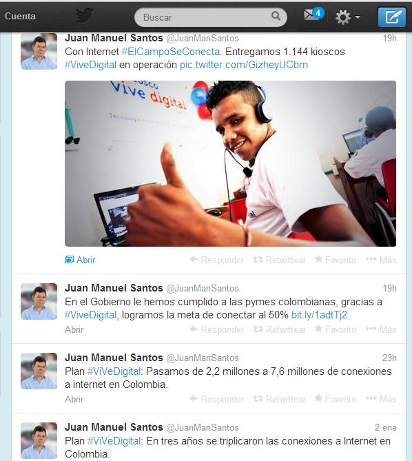 Cuenta del presidente de Colombia, Juan Manuel Santos, en Twitter