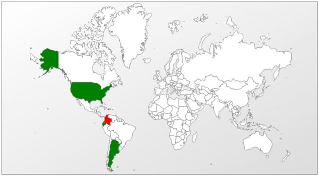 El mapa de infecciones confirma que la mayoría de las víctimas reside en Colombia: