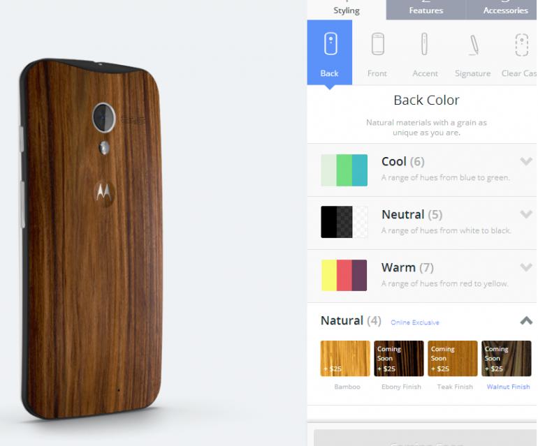 Colores de las diferentes maderas en las que Moto X está disponible.