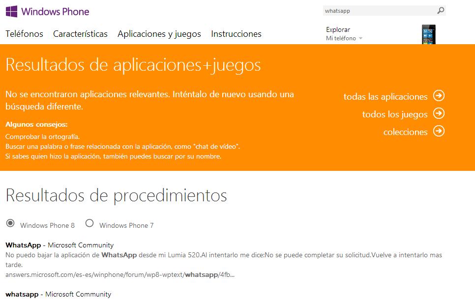 Anuncio que verá el usuario si busca la aplicación de Whatsapp para descargar de la tienda de aplicaciones de Windows Phone.