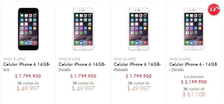 iPhone 6 en la página web de Linio de Colombia, para su venta.
