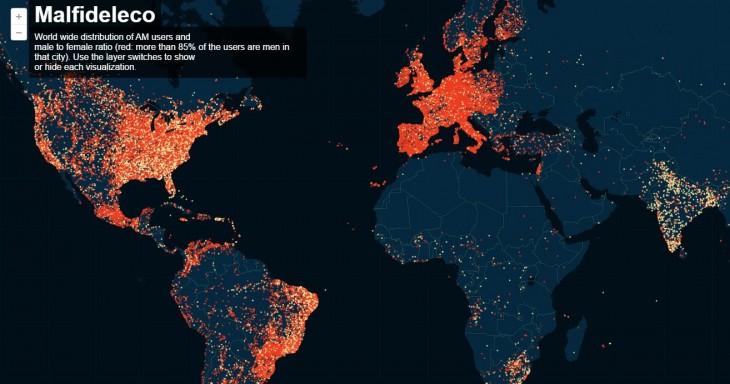 Mapa de los usuarios registrados en Ashley Madison