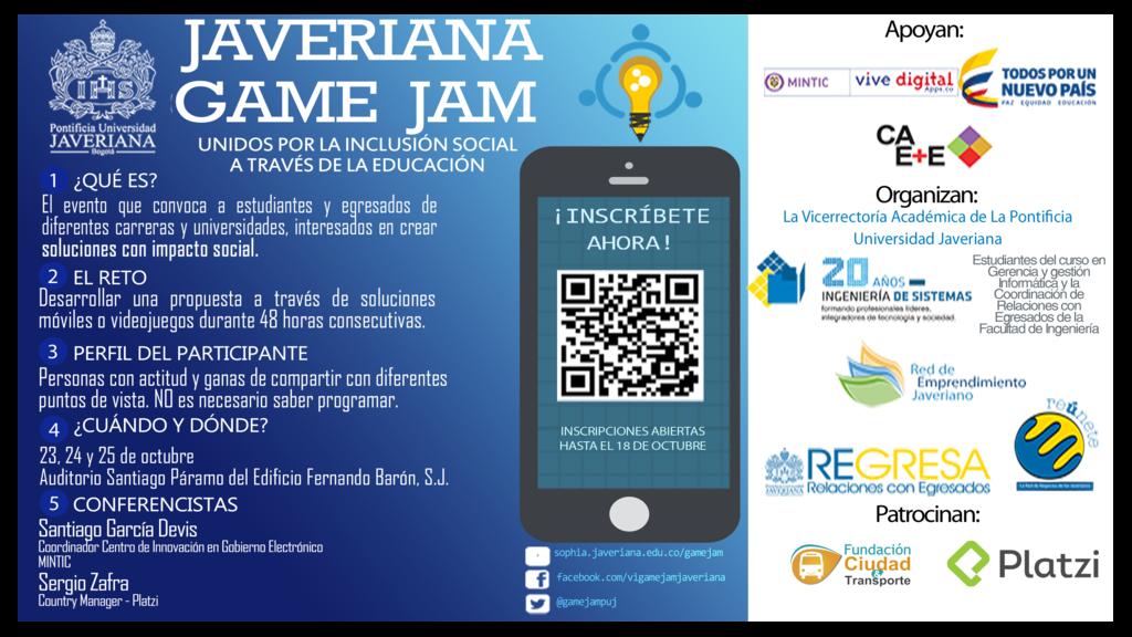 Poster sobre el encuentro, con las informaciones para aquellos que quieran participar del Game Jam.