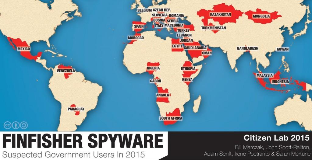 Mapa de países que han contratado FinFisher según CitizenLab.
