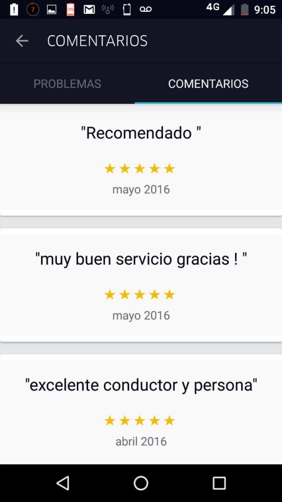 Referencias dejadas por usuarios en el perfil de Armando. El buen trato en Uber es muy importante.