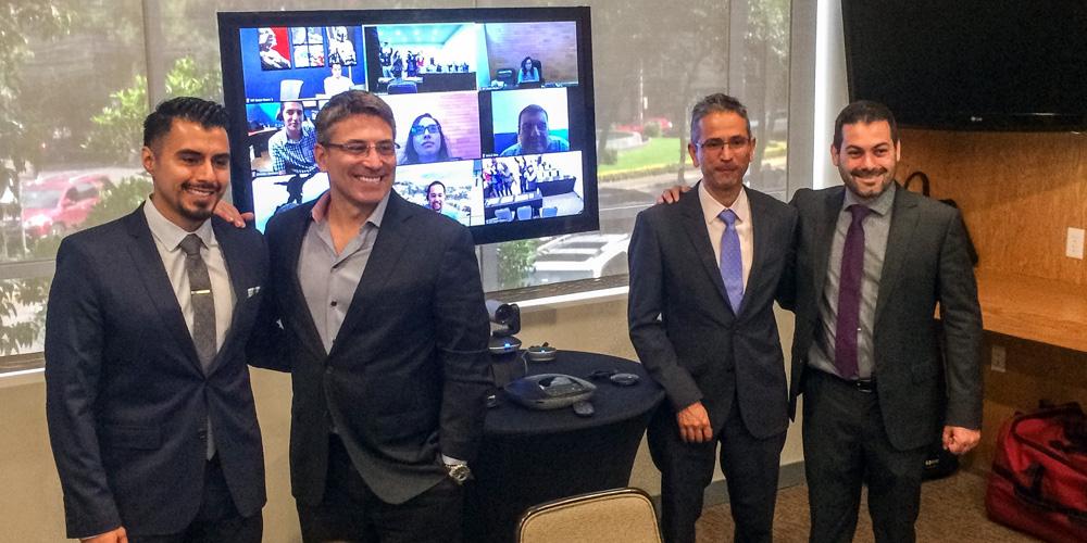 David Diaz, gerente de producto de Zoom para América Latina, David Berman, presidente de Zoom,  Guillermo Nava, gerente de soluciones para Logitech México y Eduardo Solayandia, director general de West Telco.