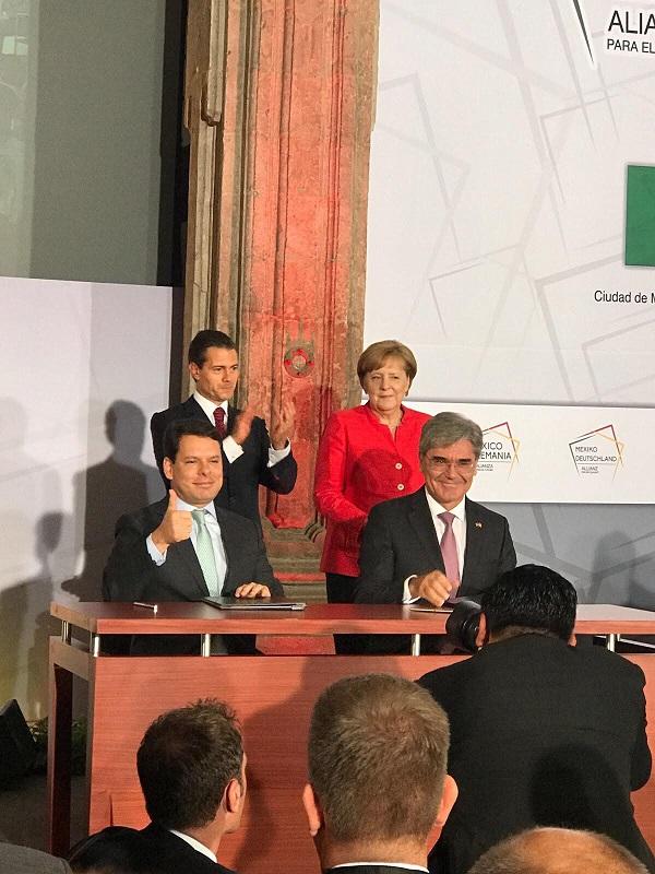 Cfe siemens EPN, Angela Merkel, Jaime Hernandez CFE_Joe Kaeser SIEMENS
