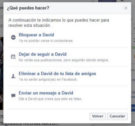 Reportar noticias falsas en Facebook